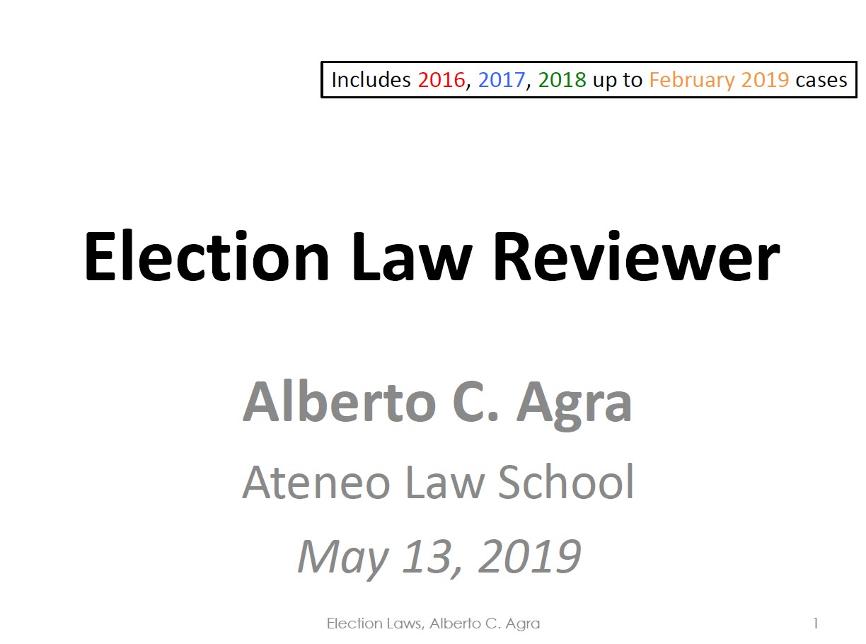 Election Law Reviewer 05.13.2019